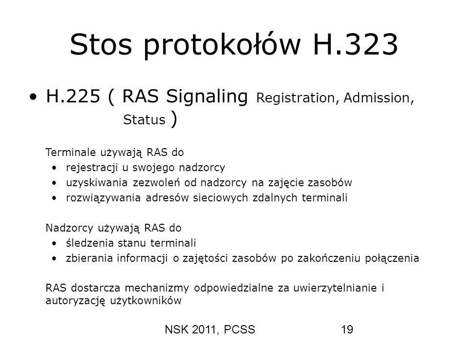 Stos protokołów H.323 H.225 ( RAS Signaling Registration, Admission, Status ) Terminale używają RAS do.