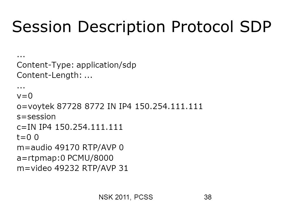 Session Description Protocol SDP