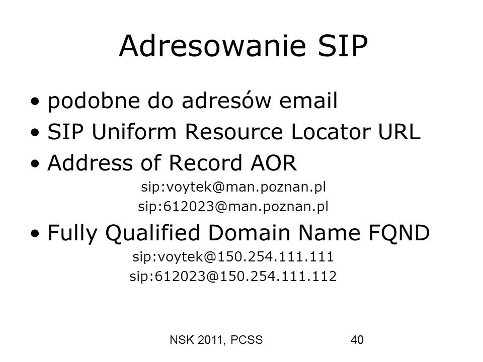 Adresowanie SIP podobne do adresów email