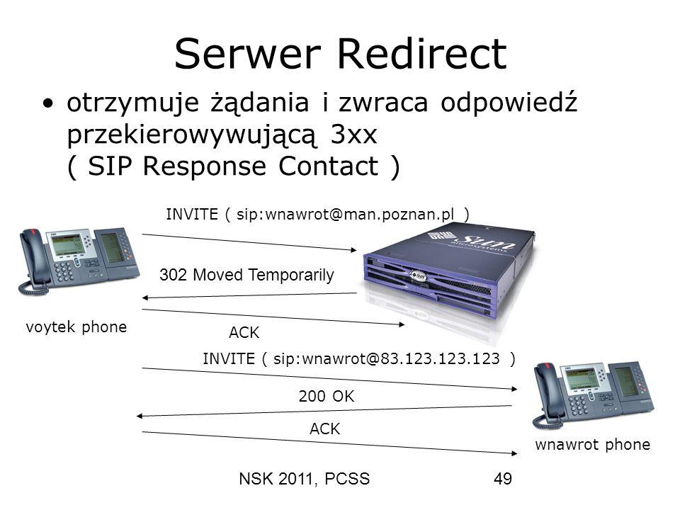 Serwer Redirect otrzymuje żądania i zwraca odpowiedź przekierowywującą 3xx ( SIP Response Contact )