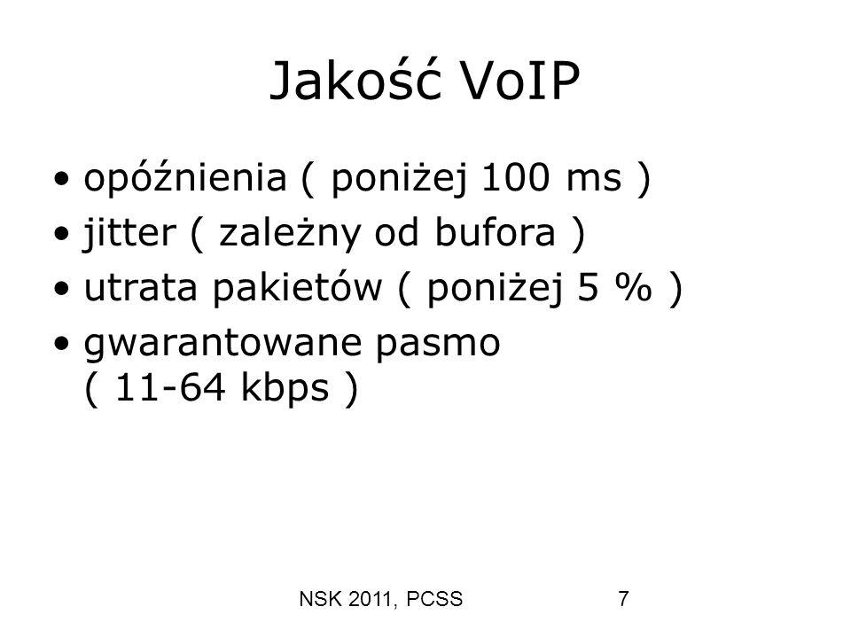 Jakość VoIP opóźnienia ( poniżej 100 ms ) jitter ( zależny od bufora )