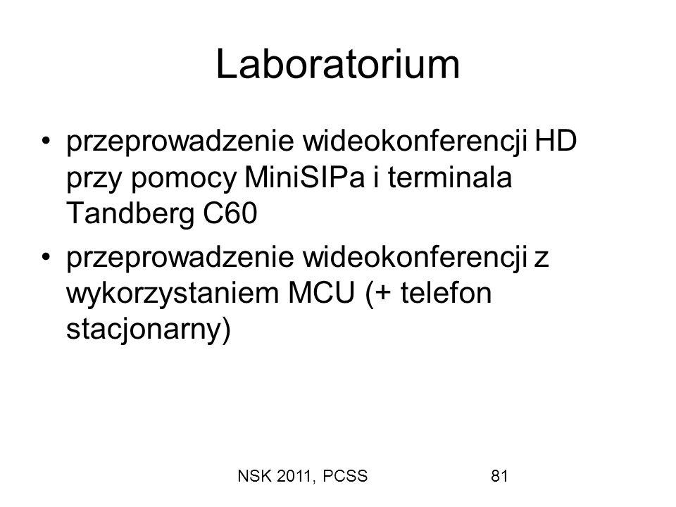 Laboratorium przeprowadzenie wideokonferencji HD przy pomocy MiniSIPa i terminala Tandberg C60.