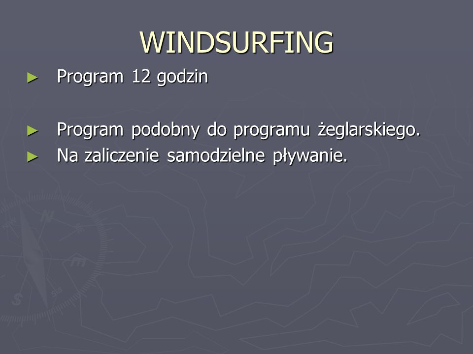 WINDSURFING Program 12 godzin
