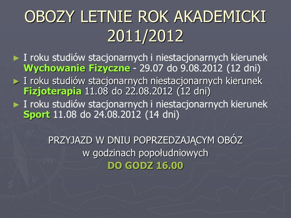 OBOZY LETNIE ROK AKADEMICKI 2011/2012