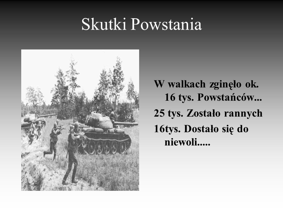 Skutki Powstania W walkach zginęło ok. 16 tys. Powstańców...