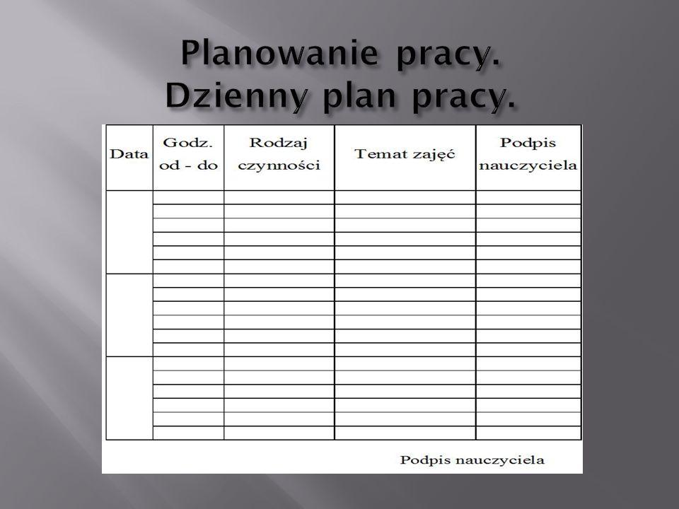Planowanie pracy. Dzienny plan pracy.