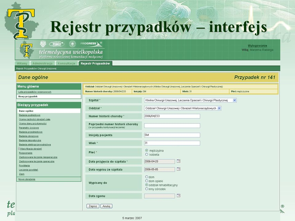 Rejestr przypadków – interfejs