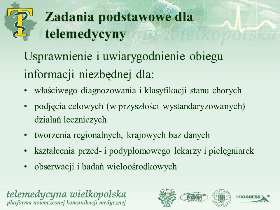 Zadania podstawowe dla telemedycyny