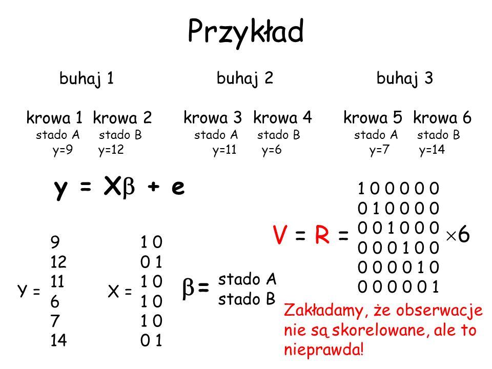 Przykład y = X + e V = R = = 6 buhaj 1 krowa 1 krowa 2 buhaj 2