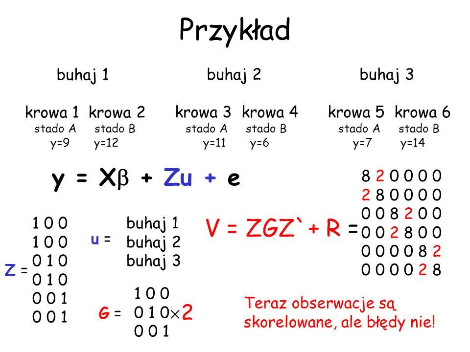 Przykład y = X + Zu + e V = ZGZ`+ R = 2 buhaj 1 krowa 1 krowa 2