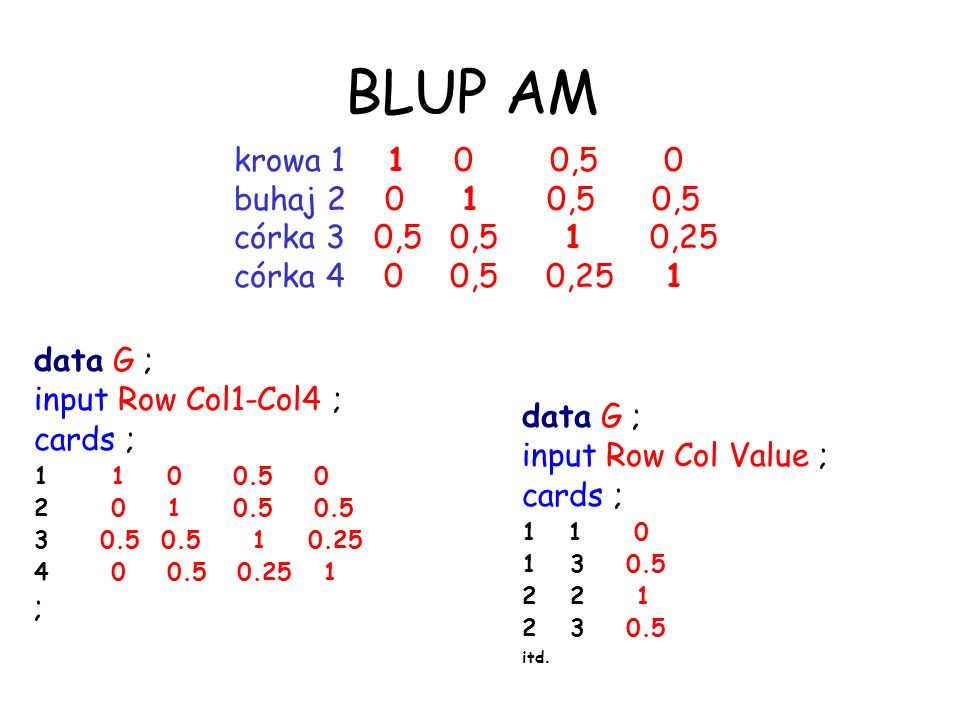 BLUP AM krowa 1 1 0 0,5 0 buhaj 2 0 1 0,5 0,5 córka 3 0,5 0,5 1 0,25