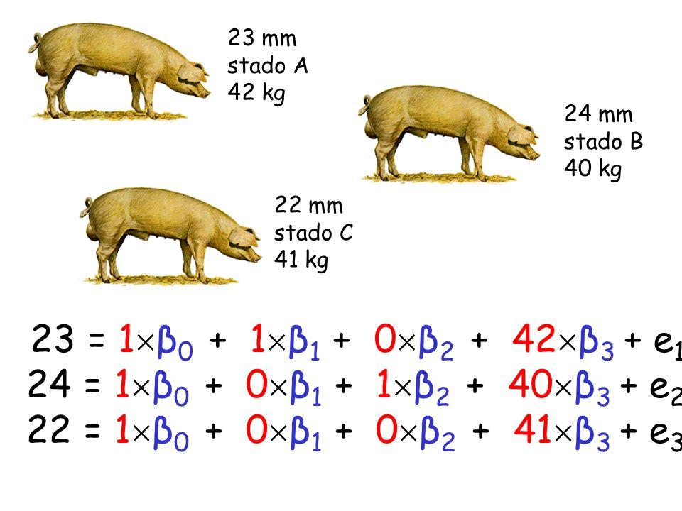 23 mm stado A. 42 kg. 24 mm. stado B. 40 kg. 22 mm. stado C. 41 kg. 23 = 1β0 + 1β1 + 0β2 + 42β3 + e1.