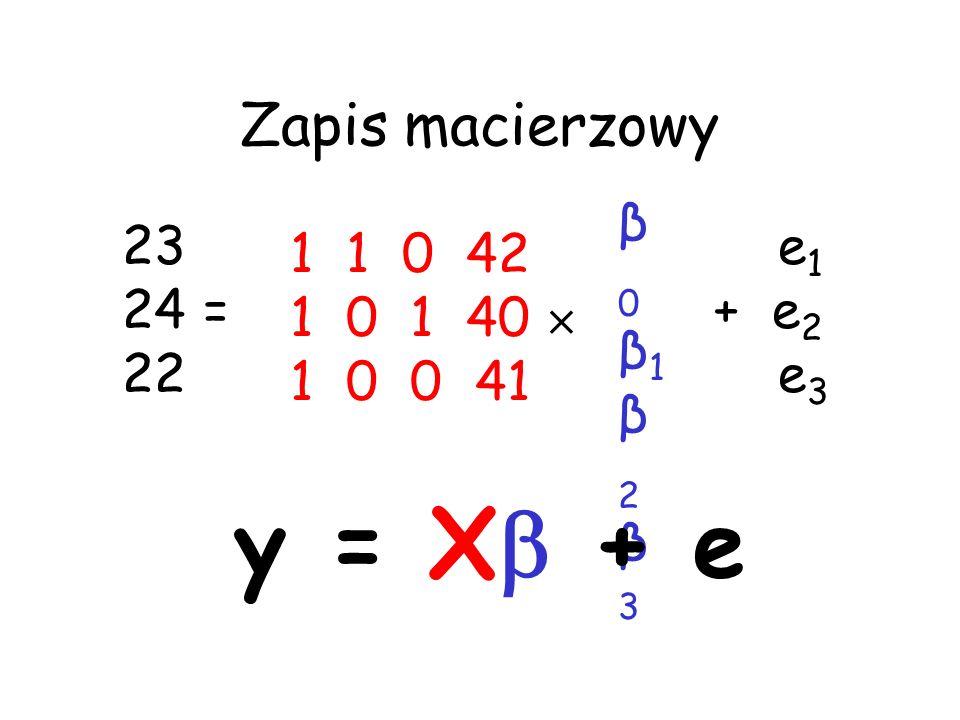 y = X + e Zapis macierzowy β0 β1 β2 β3 23 24 = 22 e1 + e2 e3 1 1 0 42