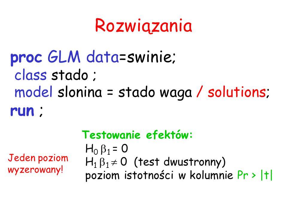 Rozwiązania proc GLM data=swinie; run ; class stado ;