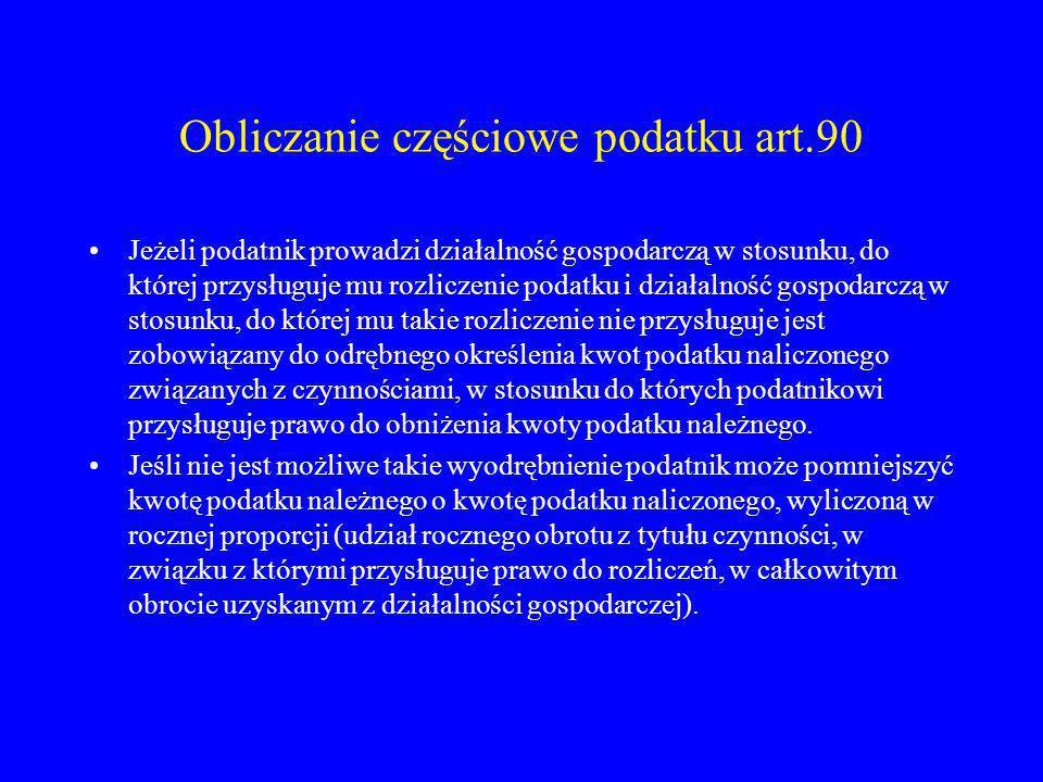 Obliczanie częściowe podatku art.90