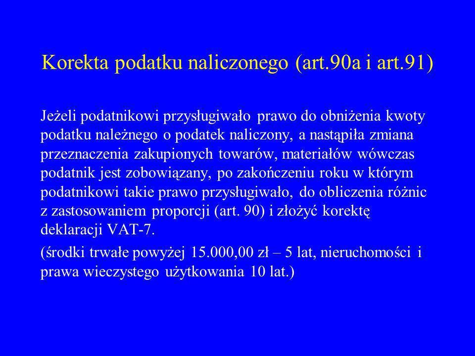 Korekta podatku naliczonego (art.90a i art.91)