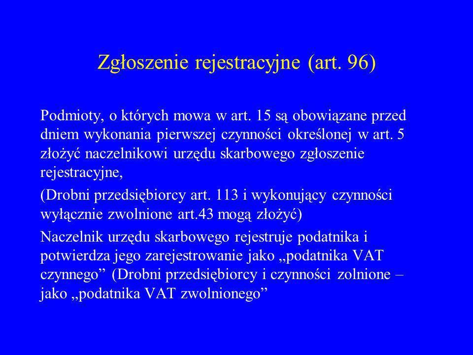 Zgłoszenie rejestracyjne (art. 96)