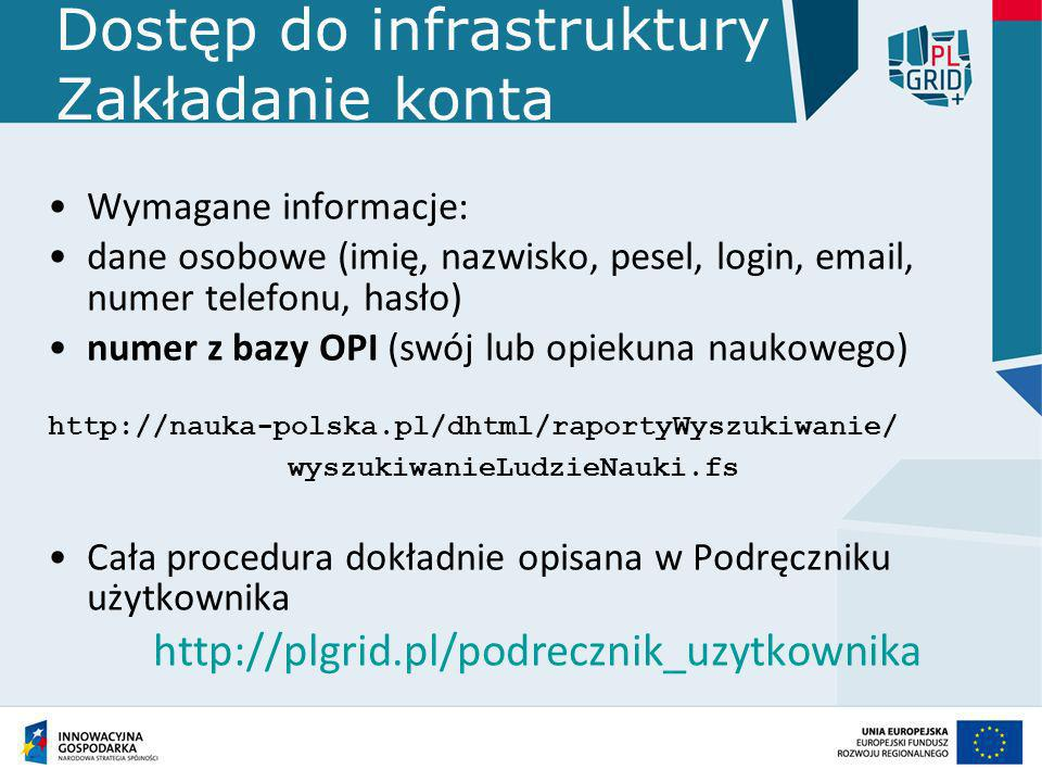 Dostęp do infrastruktury Zakładanie konta