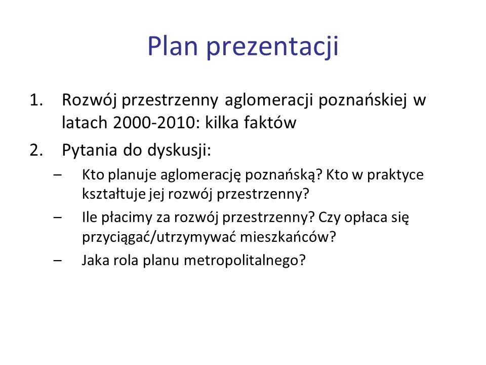 Plan prezentacji Rozwój przestrzenny aglomeracji poznańskiej w latach 2000-2010: kilka faktów. Pytania do dyskusji: