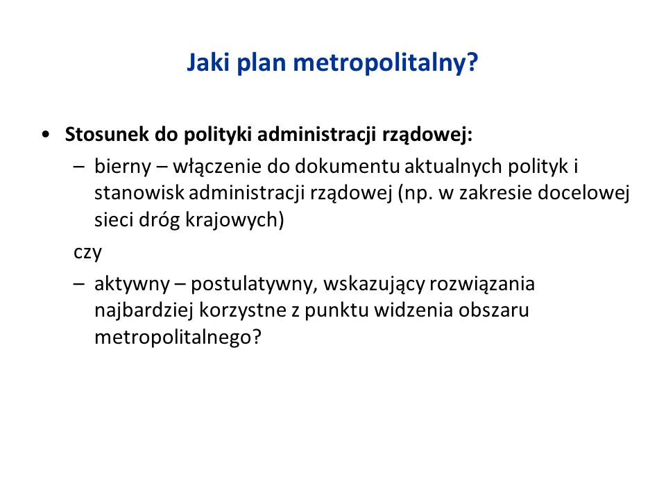 Jaki plan metropolitalny