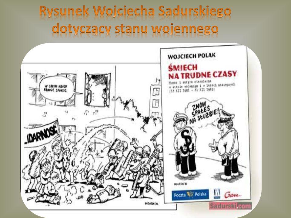 Rysunek Wojciecha Sadurskiego dotyczący stanu wojennego