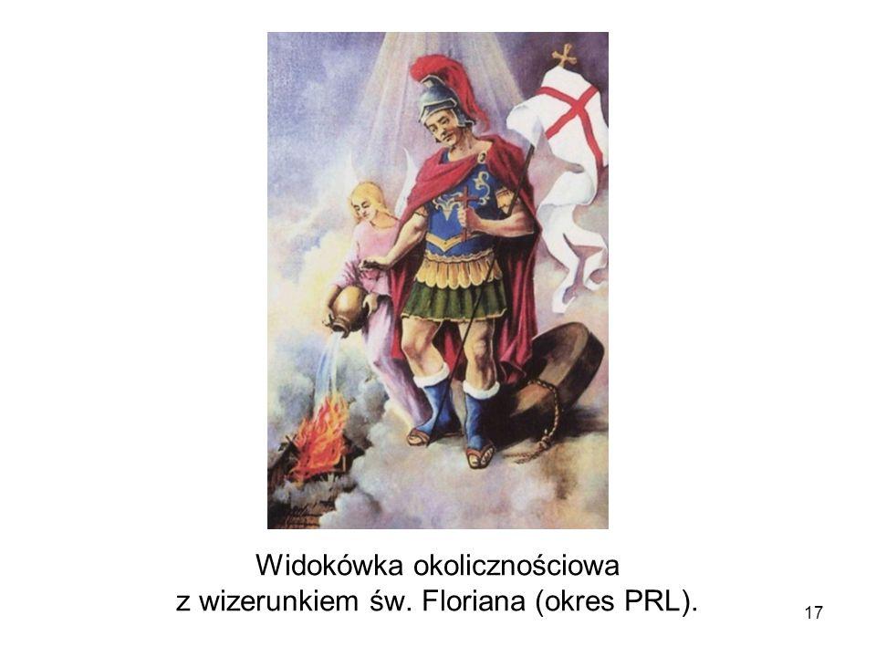 Widokówka okolicznościowa z wizerunkiem św. Floriana (okres PRL).