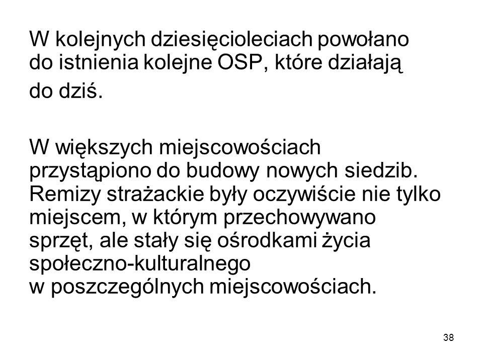 W kolejnych dziesięcioleciach powołano do istnienia kolejne OSP, które działają do dziś.