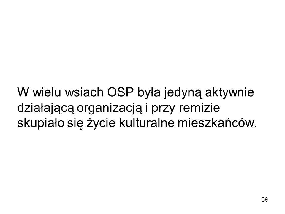 W wielu wsiach OSP była jedyną aktywnie działającą organizacją i przy remizie skupiało się życie kulturalne mieszkańców.