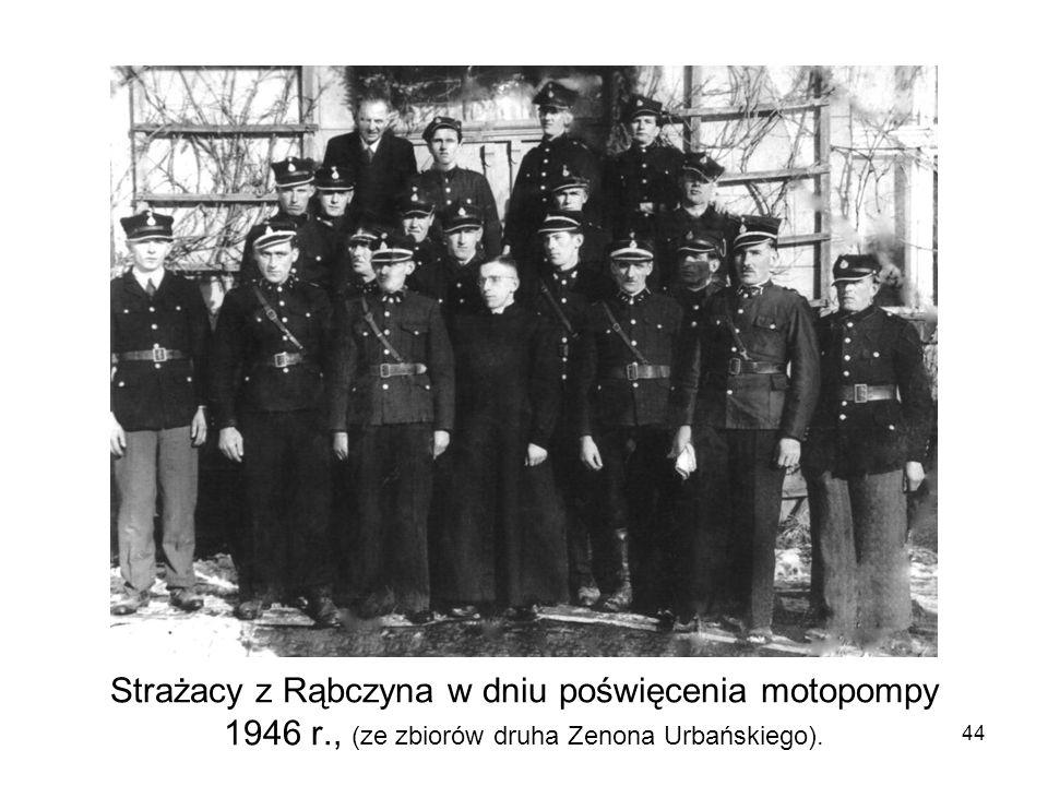 Strażacy z Rąbczyna w dniu poświęcenia motopompy 1946 r