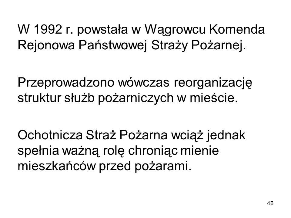 W 1992 r. powstała w Wągrowcu Komenda Rejonowa Państwowej Straży Pożarnej.