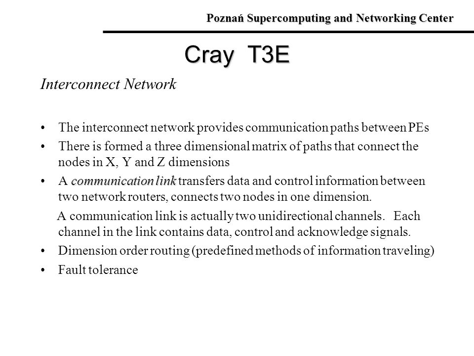 Cray T3E Interconnect Network