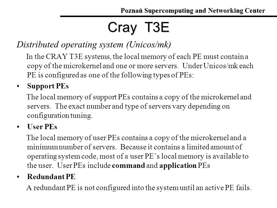 Cray T3E Distributed operating system (Unicos/mk)