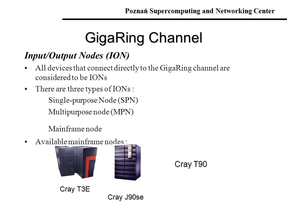 GigaRing Channel Input/Output Nodes (ION)