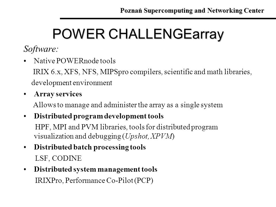 POWER CHALLENGEarray Software: Native POWERnode tools
