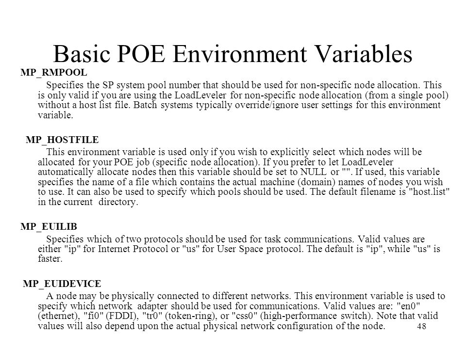 Basic POE Environment Variables