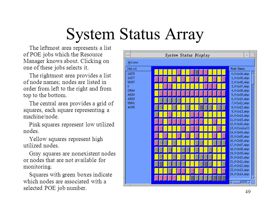 System Status Array The leftmost area represents a list of POE jobs which the Resource Manager knows about. Clicking on one of these jobs selects it.