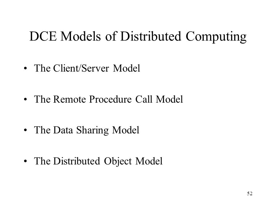 DCE Models of Distributed Computing