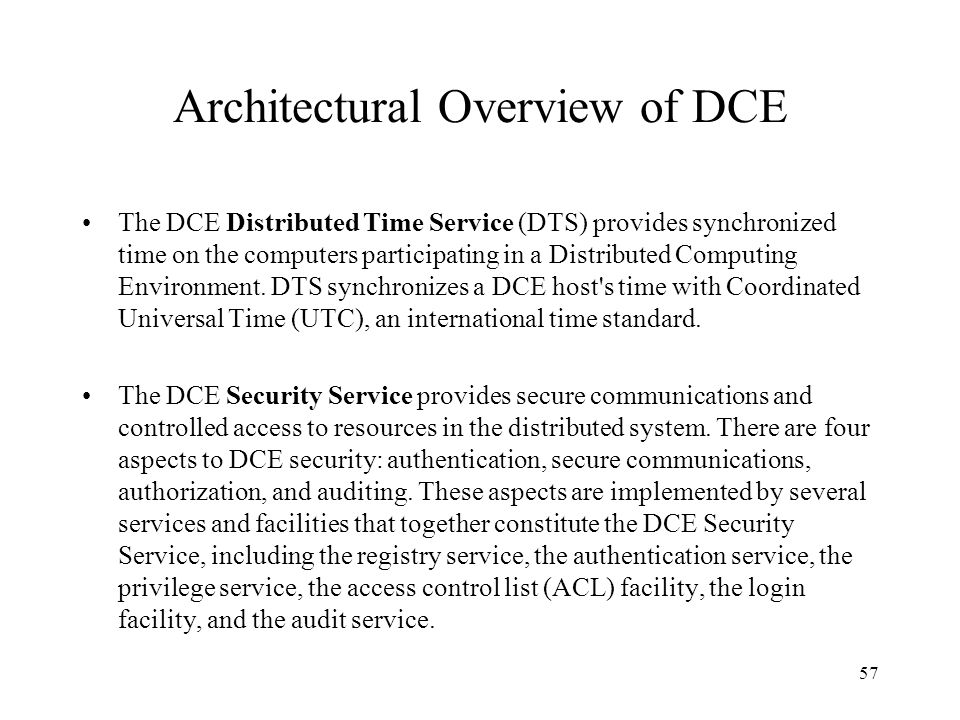 Architectural Overview of DCE
