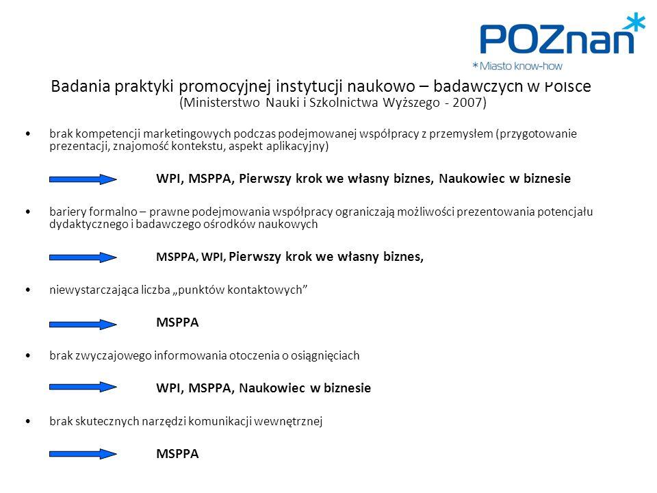 Badania praktyki promocyjnej instytucji naukowo – badawczych w Polsce (Ministerstwo Nauki i Szkolnictwa Wyższego - 2007)