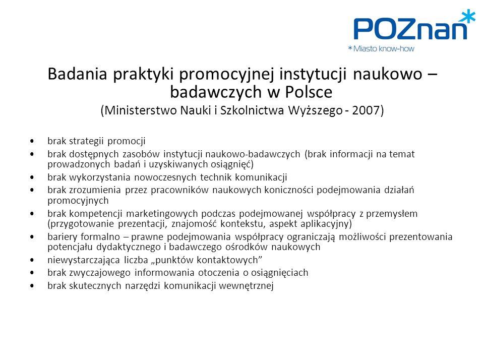 Badania praktyki promocyjnej instytucji naukowo – badawczych w Polsce
