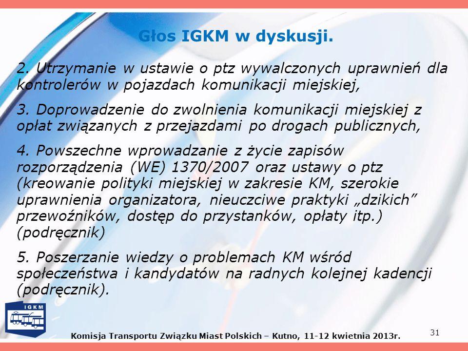 Głos IGKM w dyskusji. 2. Utrzymanie w ustawie o ptz wywalczonych uprawnień dla kontrolerów w pojazdach komunikacji miejskiej,