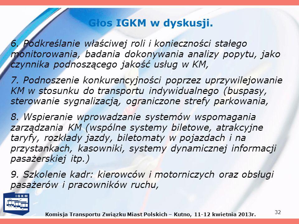 Głos IGKM w dyskusji.