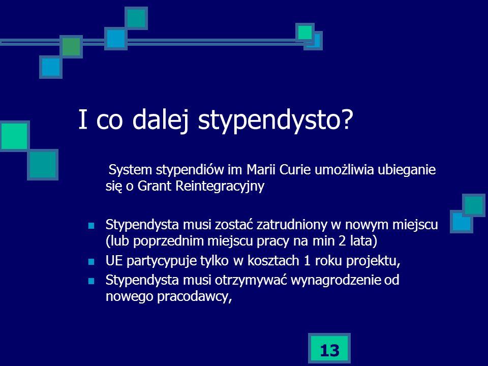 I co dalej stypendysto System stypendiów im Marii Curie umożliwia ubieganie się o Grant Reintegracyjny.