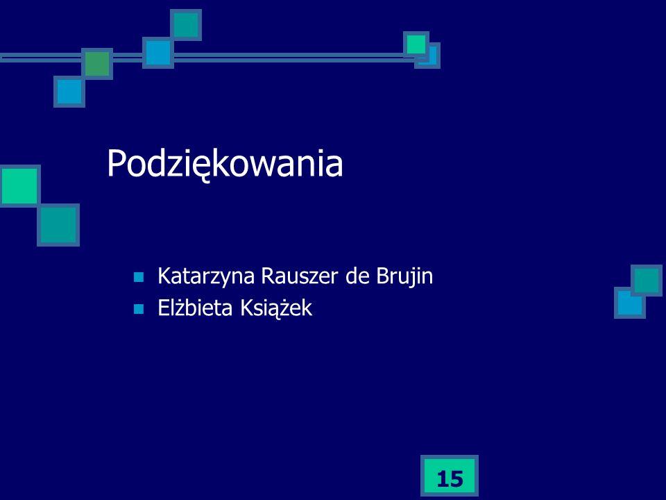 Podziękowania Katarzyna Rauszer de Brujin Elżbieta Książek