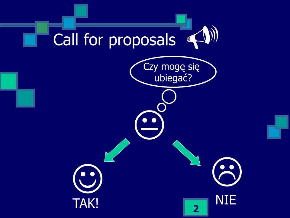 Call for proposals  Czy mogę się ubiegać    NIE TAK!