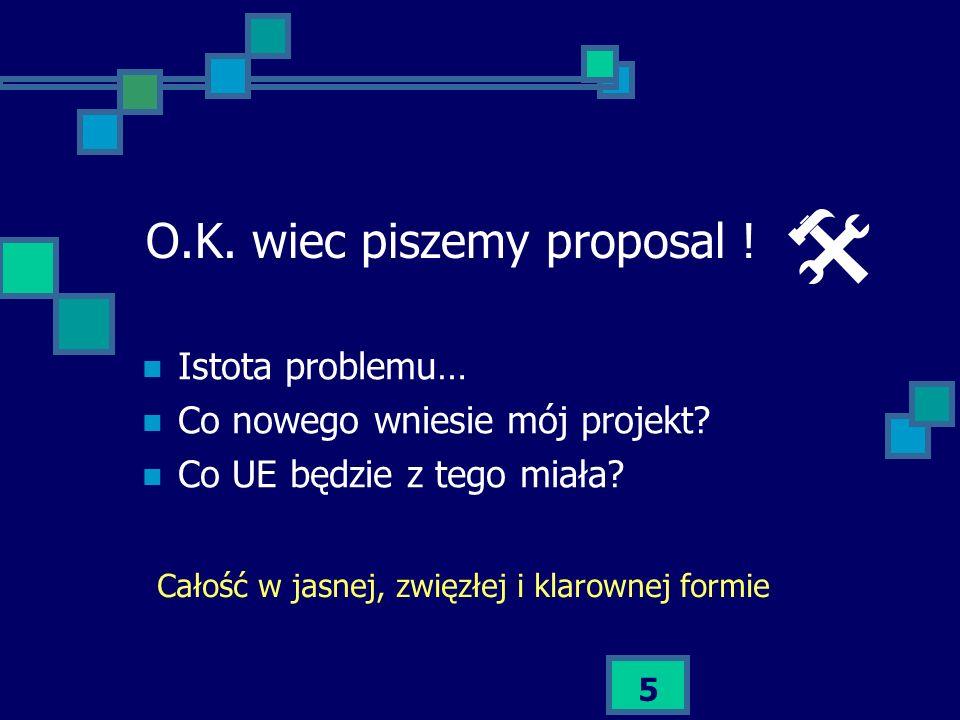 O.K. wiec piszemy proposal !