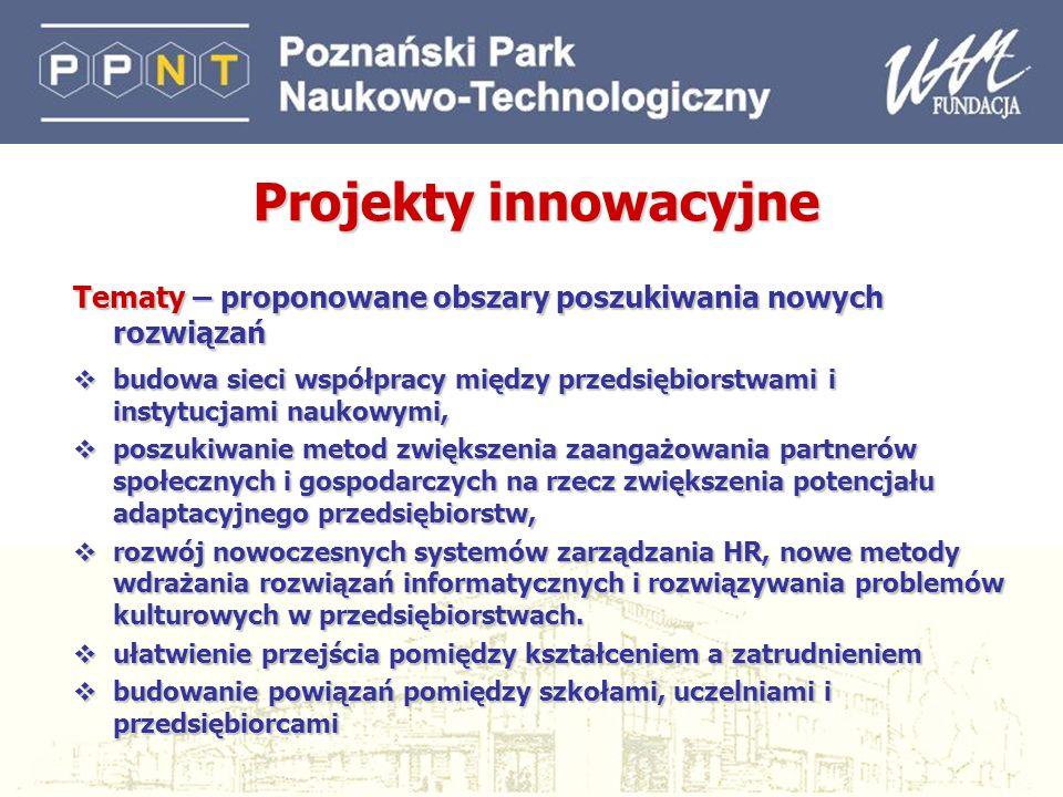 Projekty innowacyjne Tematy – proponowane obszary poszukiwania nowych rozwiązań.