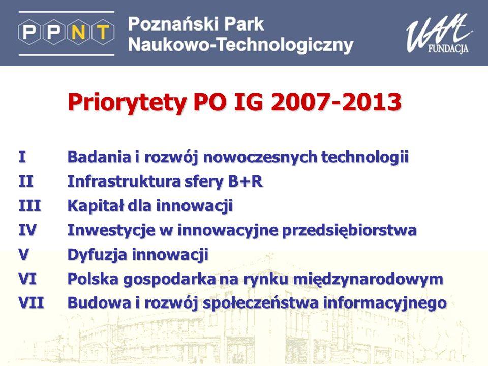 Priorytety PO IG 2007-2013 I Badania i rozwój nowoczesnych technologii