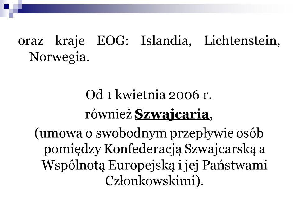 oraz kraje EOG: Islandia, Lichtenstein, Norwegia.