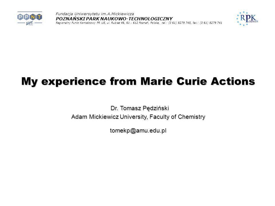My experience from Marie Curie Actions
